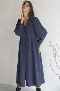 Платье макси на пуговицах графитового оттенка image featured