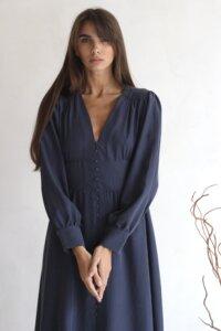Платье макси на пуговицах графитового оттенка image 1