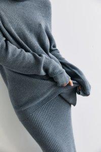 Трикотажная юбка в рубчик серого цвета image 2