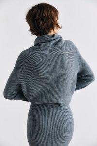 Трикотажная юбка в рубчик серого цвета image 3