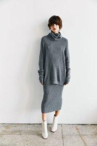 Трикотажная юбка в рубчик серого цвета image 1