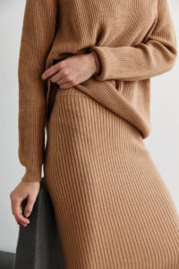 Трикотажная юбка в рубчик цвета кэмел image featured