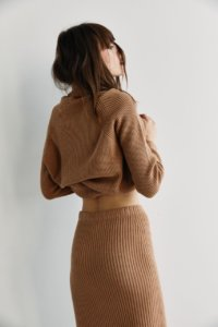 Трикотажная юбка в рубчик цвета кэмел image 3