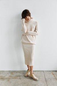 Трикотажная юбка в рубчик кремового цвета image 1