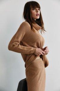 Трикотажная юбка в рубчик цвета кэмел image 1