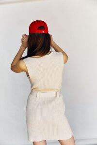 Трикотажное платье мини кремового оттенка image 1